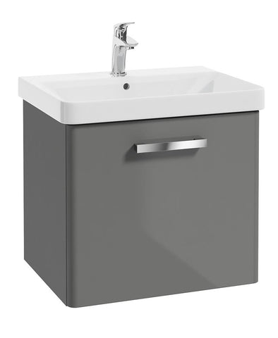 SONAS Odeon Steel Grey Gloss 60cm Wall Hung 1 Drawer Vanity Unit Code W2OD60SG