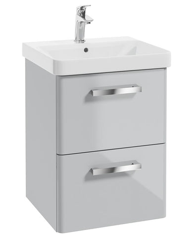 SONAS Odeon Cool Grey Gloss 50cm Wall Hung 2 Drawer Vanity Unit Code W3OD50CG
