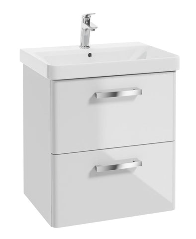 SONAS Odeon White Gloss 60cm Wall Hung 2 Drawer Vanity Unit Code W3OD60WH