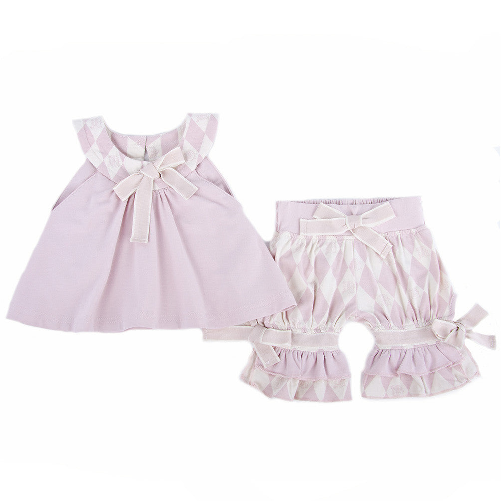 Two Piece Swing Top and Short Set (Berries and Cream Pink)