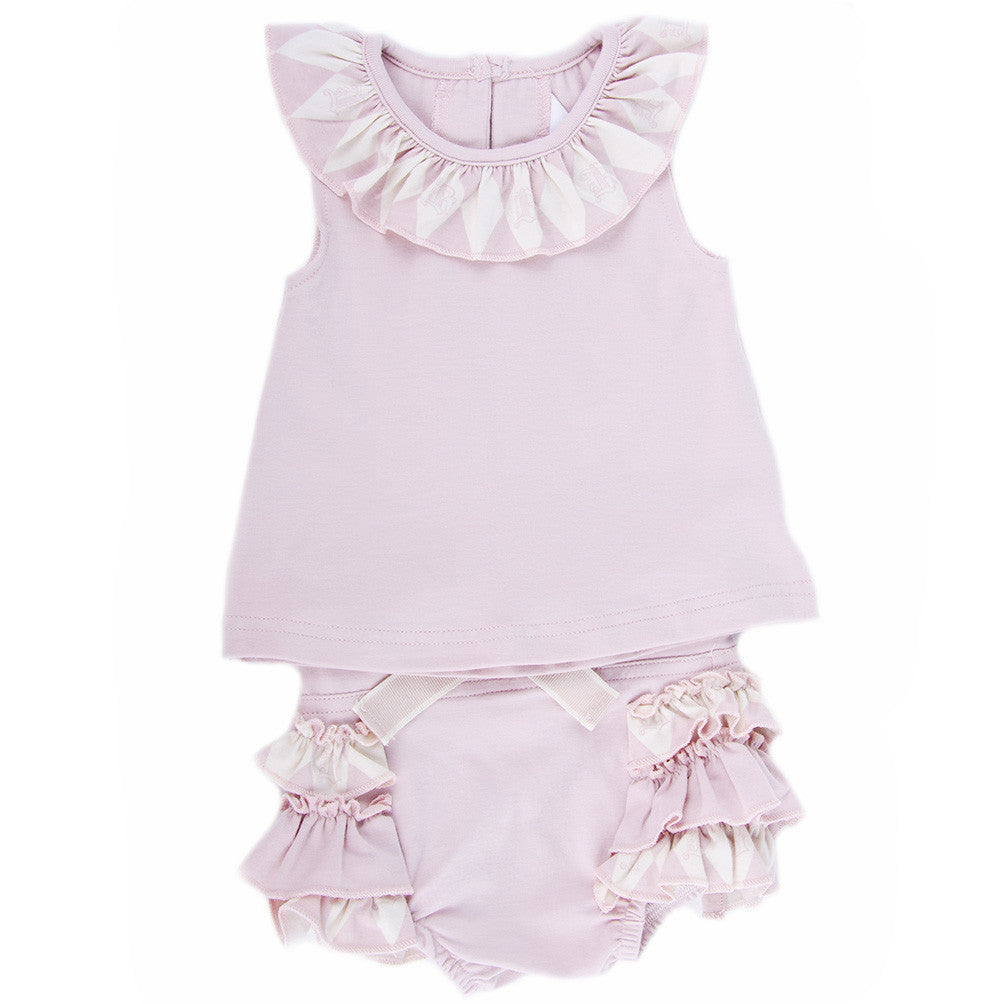 Two Piece Top and Bloomer Set (Berries and Cream Pink)