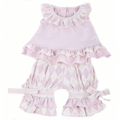 Two Piece Top and Short Set (Berries and Cream Pink)