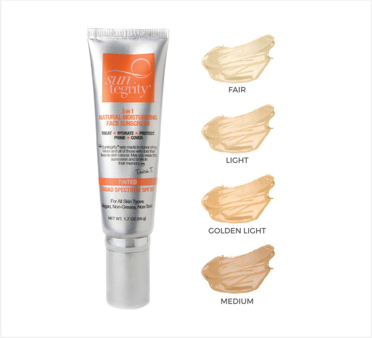 5 in 1 Tinted Natural Moisturizing Face Suncreen SPF 30- MEDIUM