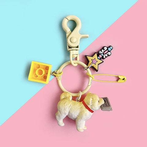 "Corgi and Friends ""I'm Stuck With You"" Keychain"