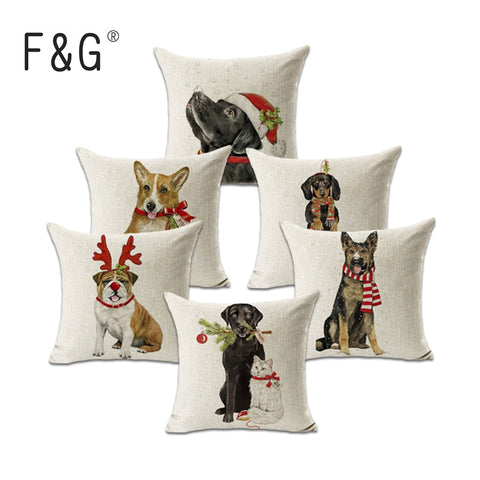 Christmas Corgi and Friends Cotton Pillow Cover