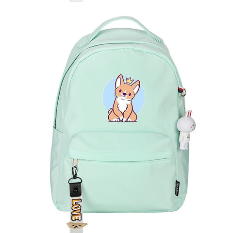 Corgi Embossing Prince Travel Backpack 3 Colors