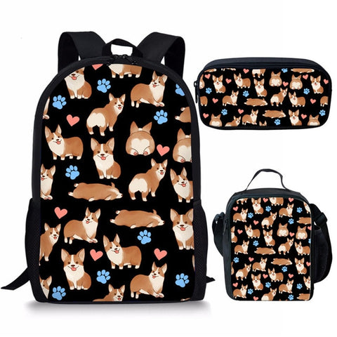 Backpack, Lunch Bag and Pouch Corgi set 3 Colors