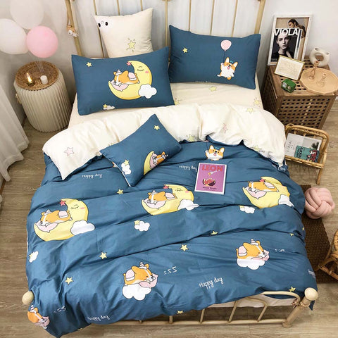 Blue Corgi and Moon Bedding Set Cotton
