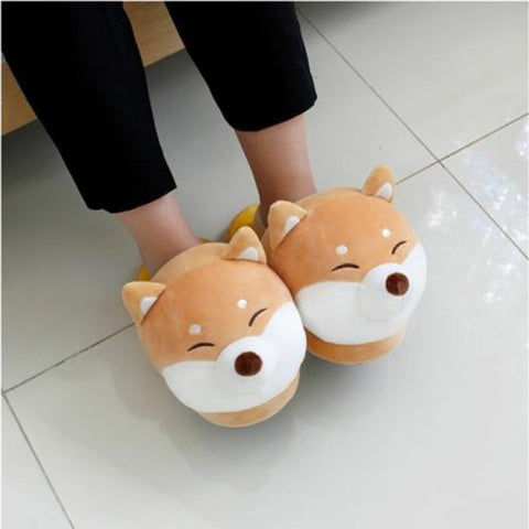 Welsh Corgi & Husky Cotton Plushie Slippers