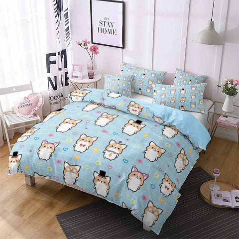 Blue Lovely Corgi Bedding Set All Size US/AU/EU