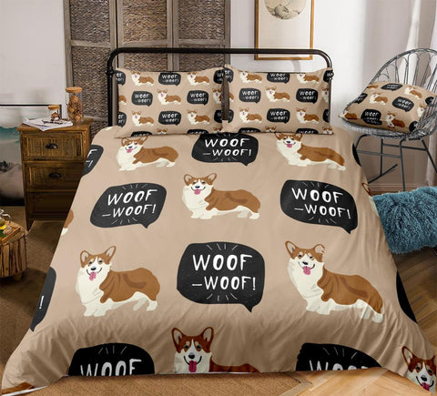 Brown Corgi Bedding Set, AU/UK/US Sizes