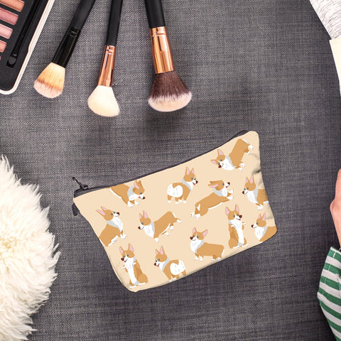 Women Cosmetic Bag Corgi With Behaviours, Cosmetics Pouchs For Travel