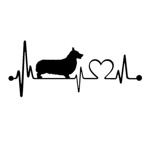 19*8.3CM Welsh Corgi Heartbeat Stickers (2 Colors)