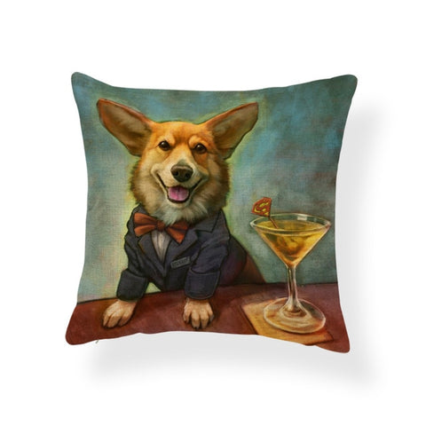 Drinking Gentle-Corgo and Other Dog Breeds Pillow Case