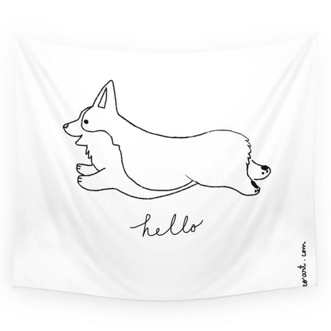 Pembroke Welsh Corgi - Hello Wall Tapestry and Throw Blanket