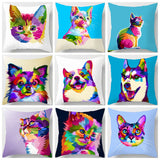 Colorful Corgi and Friends Pillow Case