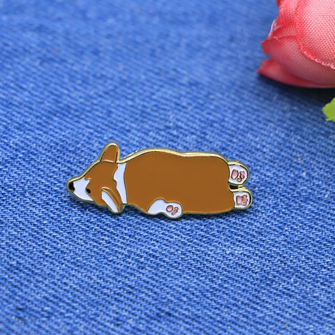 Flooping Corgi Brooch