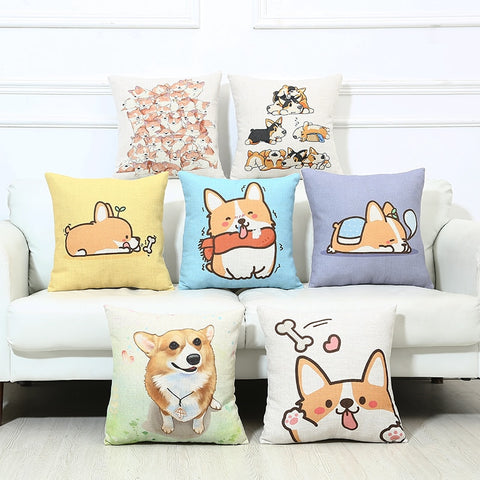 14 Styles Cute Corgi Pillow Case