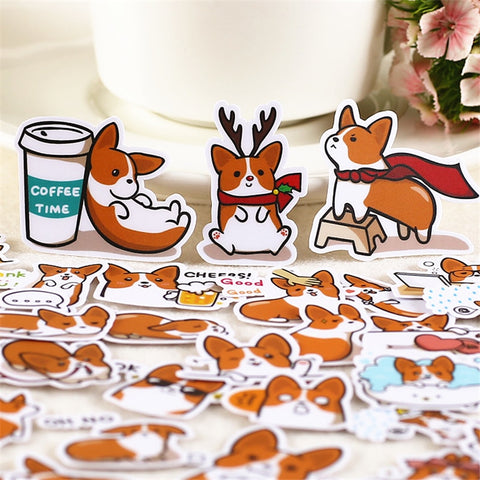 Handmade 32 PCS Corgi Stickers