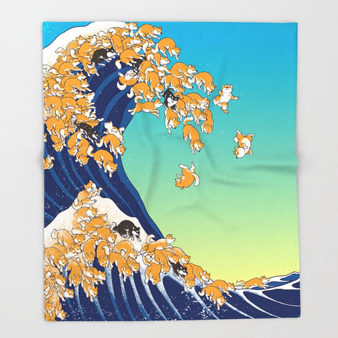 Corgi in Great Wave Blanket Bedspread Design Soft Fleece Throw Blanket Air/Sofa/Bedding Soft Winter Bedsheet