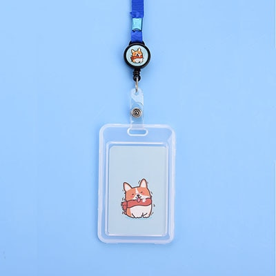 Card Name Holder Corgi Blue and Yellow and Friends
