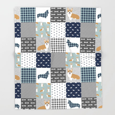 handmade welsh corgi blanket and corgi quilt | handmade welsh corgi blanket, corgi lover, corgi gift Throw Blanket