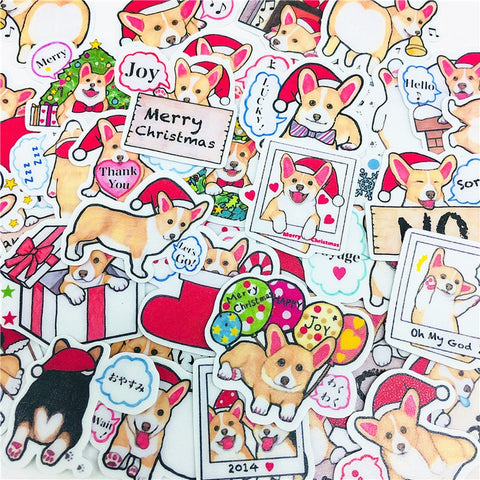 38Pcs Cute Christmas Corgi Scrapbooking Stickers