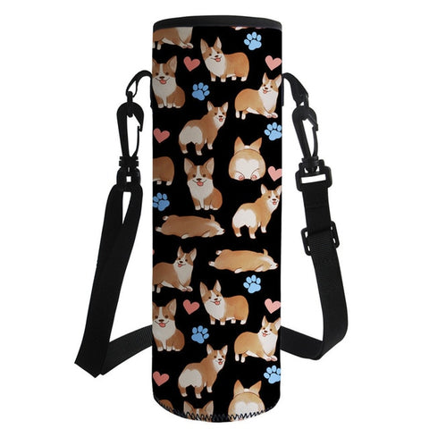 4 Colors Corgi Water Bottle Cover Bag Insulated Neoprene For 1000ml With Shoulder Strap
