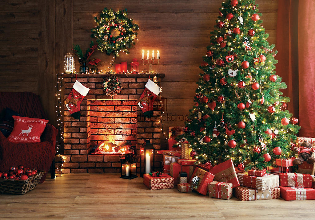 Christmas Interior Fireplace with Tree Photography Backdrop BD-301-SCE