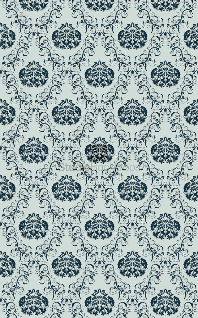 Navy Blue Damask Photography Backdrop