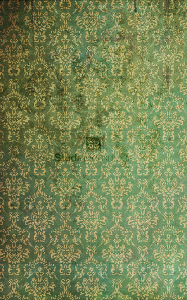 Green Vintage Damask Photography Backdrop
