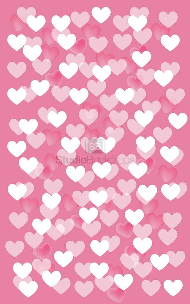 Pink Hearts Scatter Valentines Photography Backdrop
