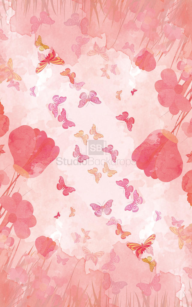 Watercolour Floral Butterflies Photography Backdrop