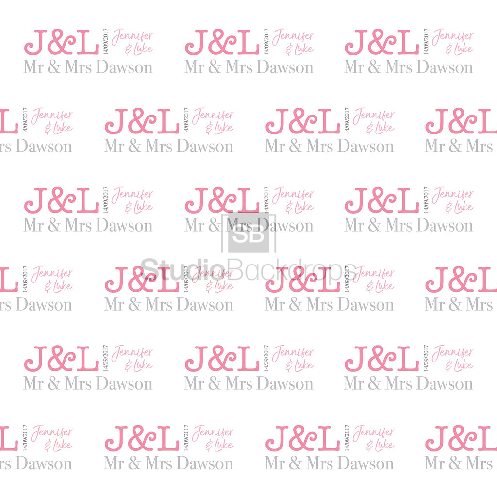 Personalised Modern Names Wedding Photo Booth Backdrop
