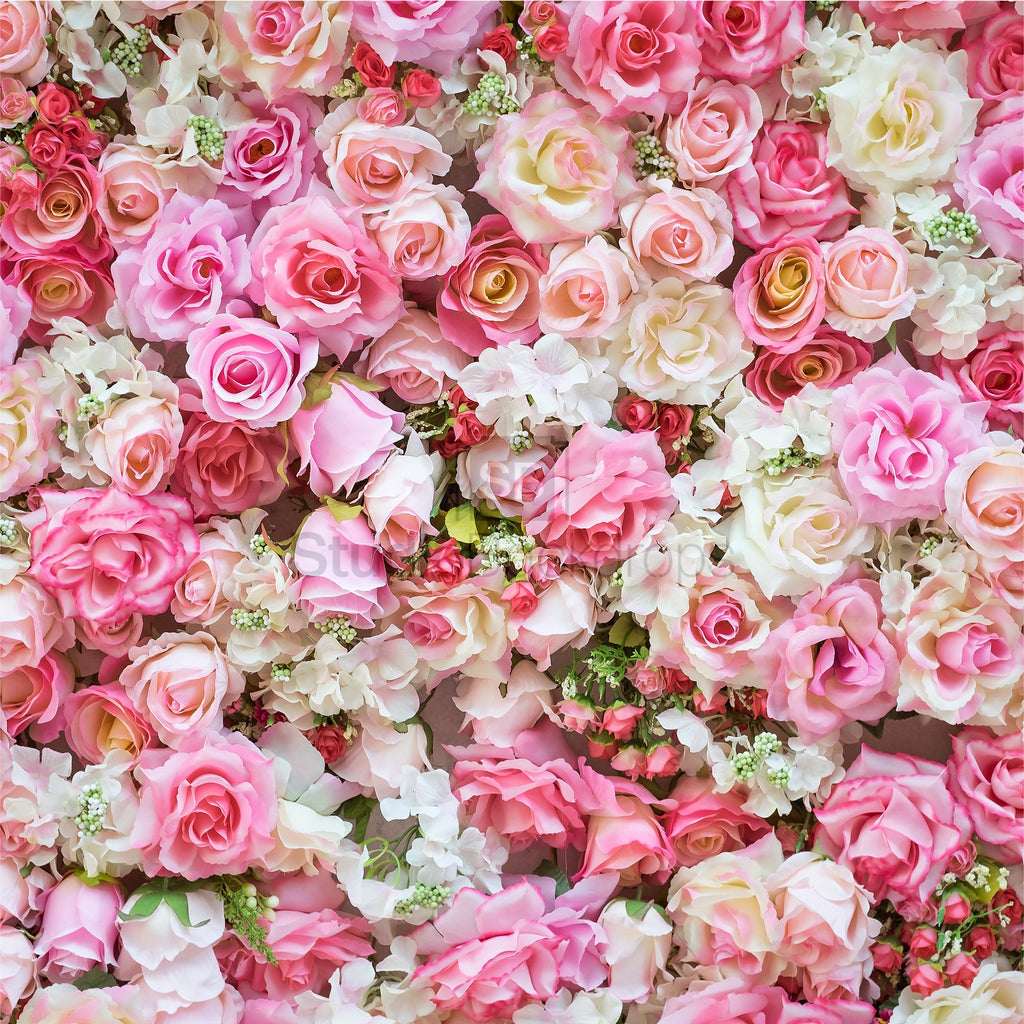 Pink Floral Wedding Photo Booth Backdrop