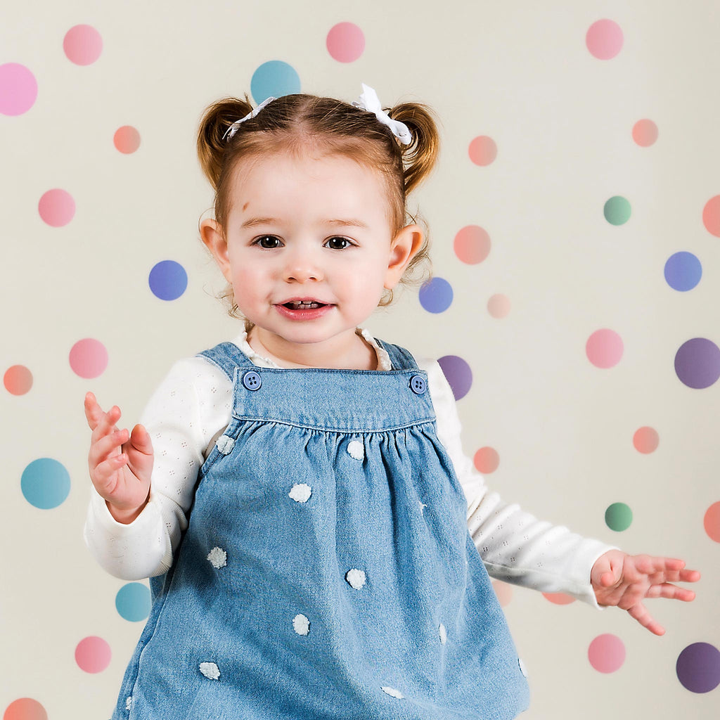 Pastel Dots and Wood Duo Faded Photography Backdrop
