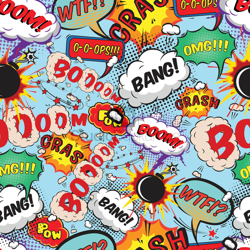 Superhero Comic Book Word Bubbles Photo Booth Backdrop