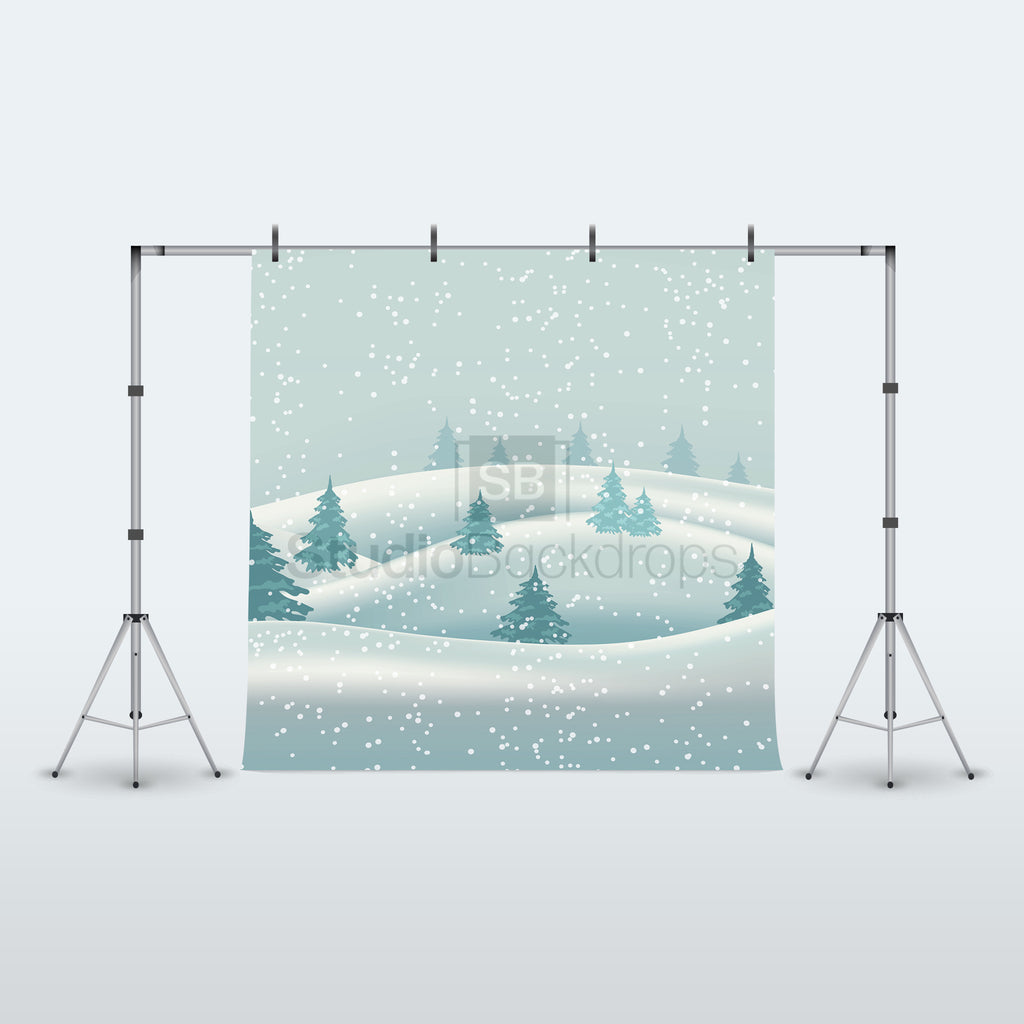 Snowy Winter Trees Photography Backdrop