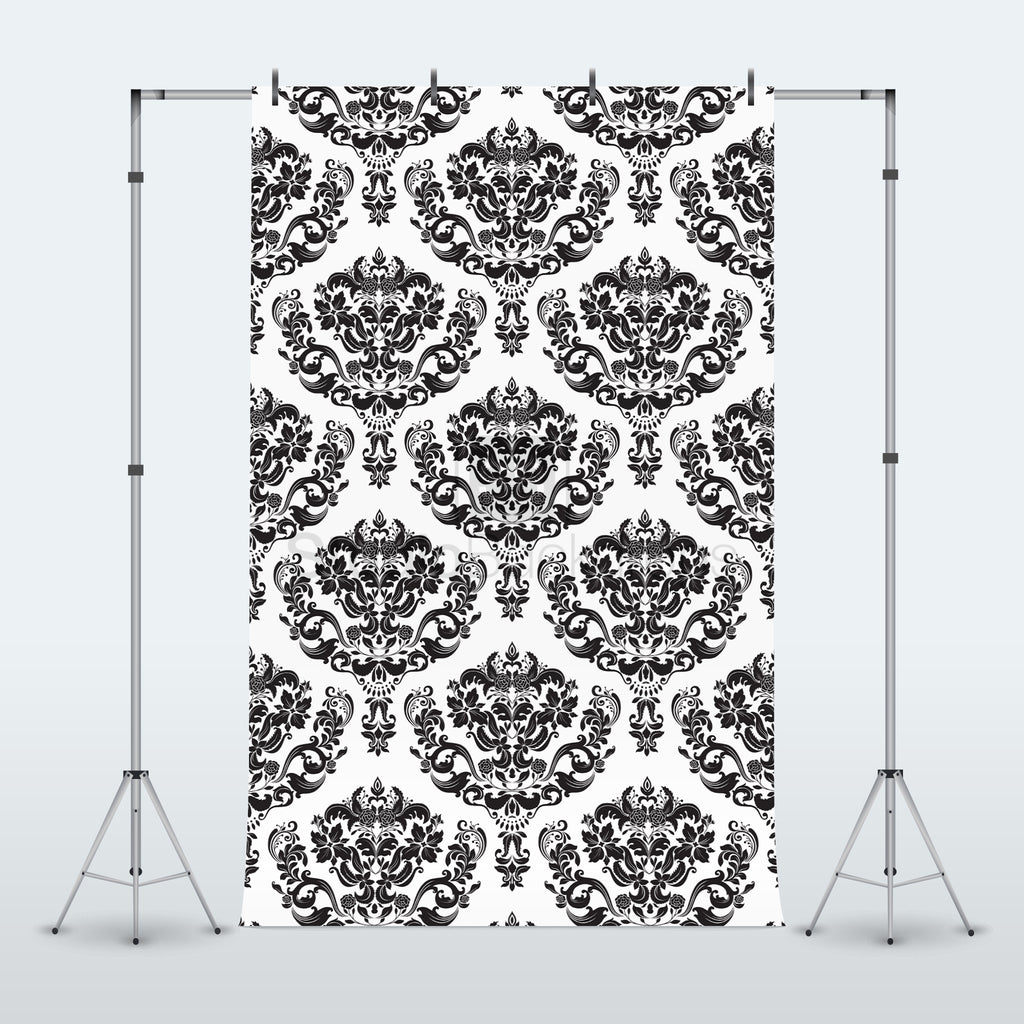 Black and White Damask Photography Backdrop