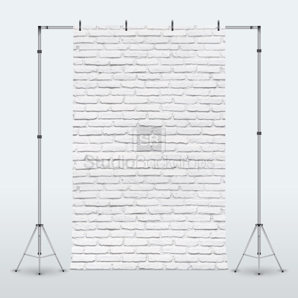 Clearance Grade A - Painted White Brick Wall Photography Backdrop BD-110-STB
