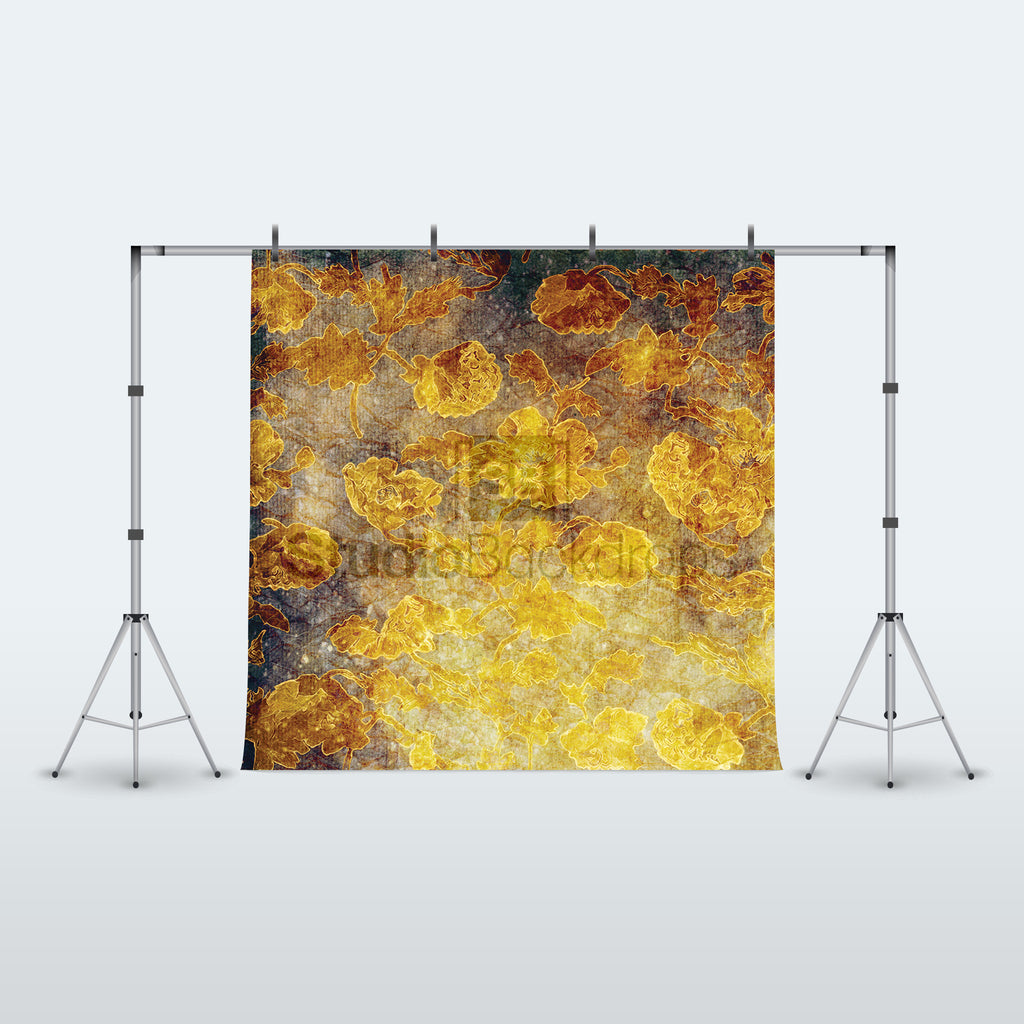 Golden Vintage Damask Photography Backdrop