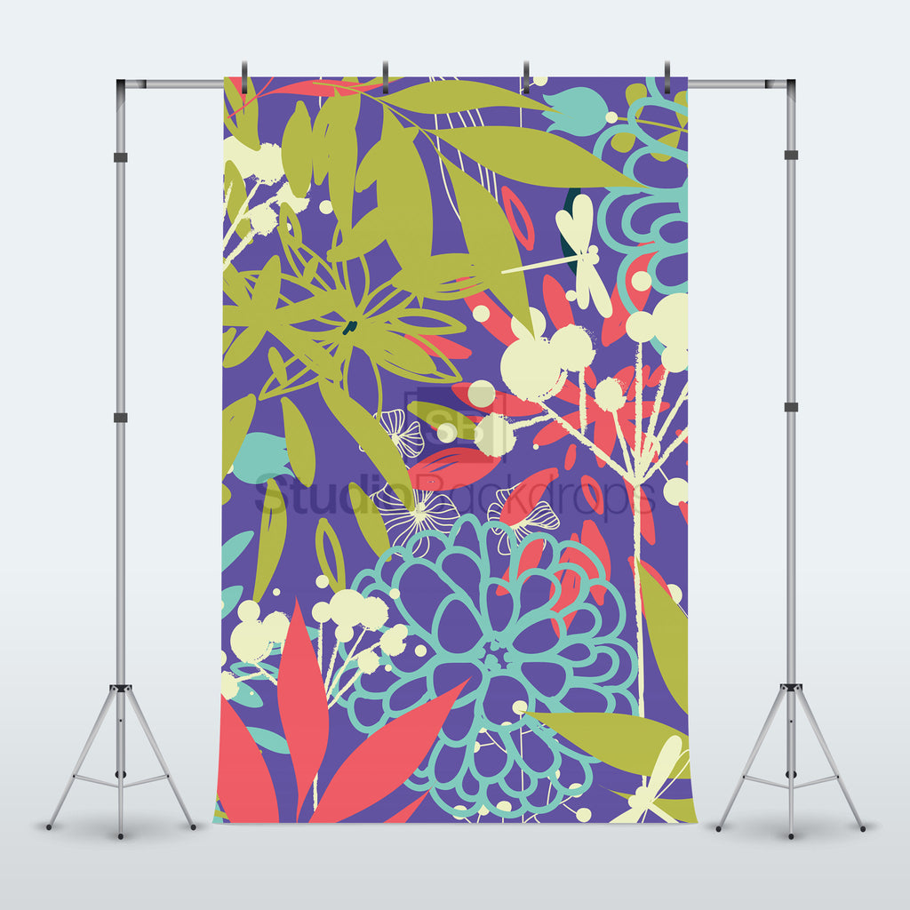 Floral Stencil Pattern Photography Backdrop