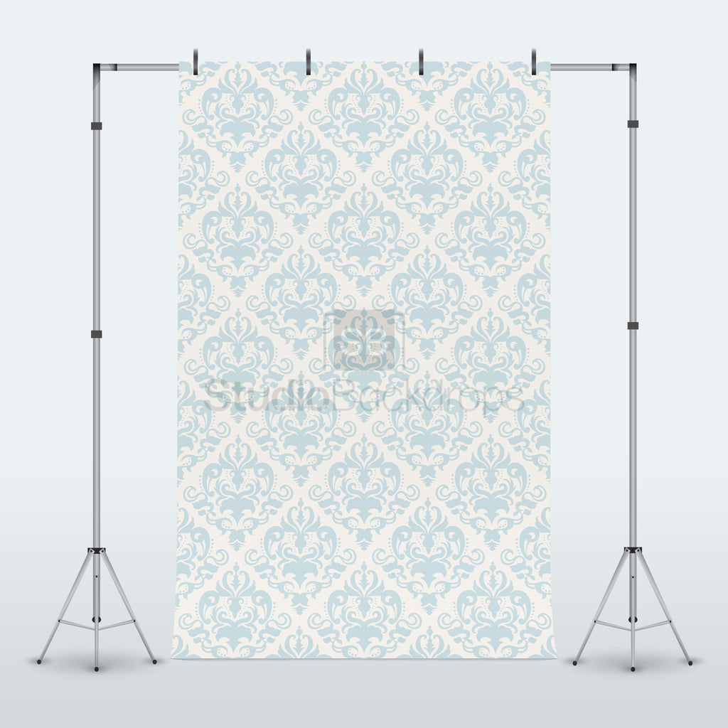 Baby Blue Damask Photography Backdrop
