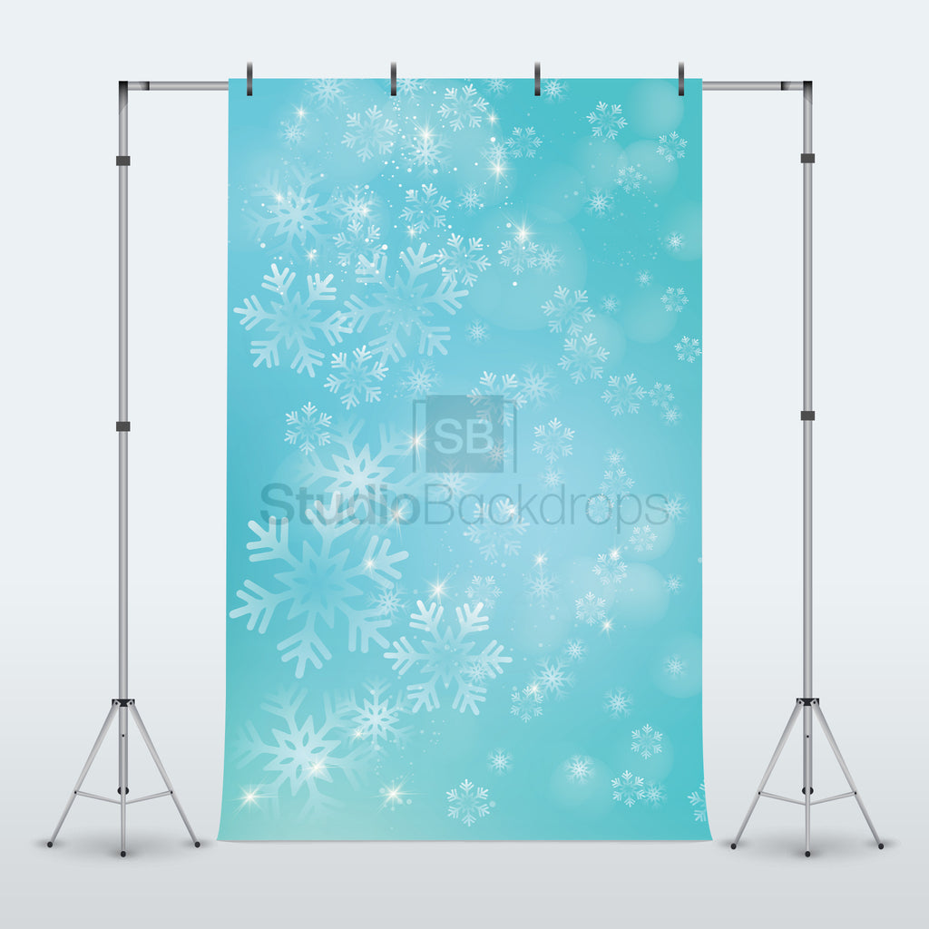 Blue Snowflake Bokeh Photography Backdrop