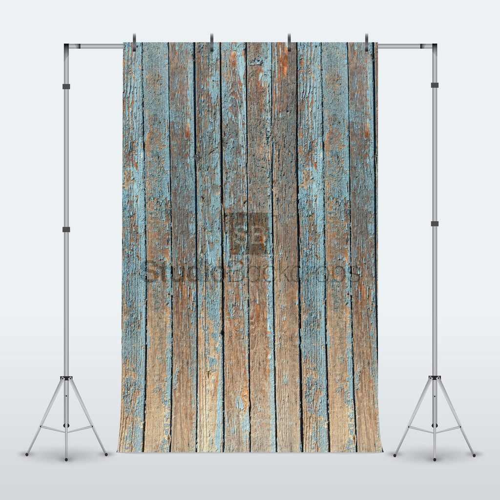Peeling Blue Paint Wood Photography Backdrop