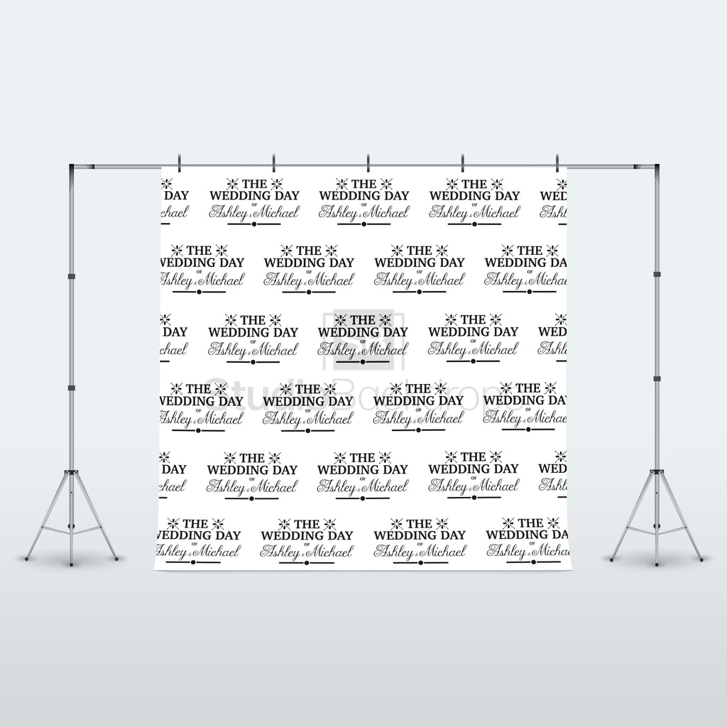 Personalised Traditional Names Wedding Photo Booth Backdrop