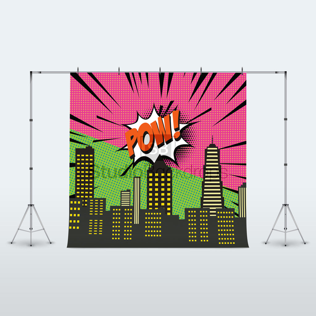 Superhero City Scene Photo Booth Backdrop