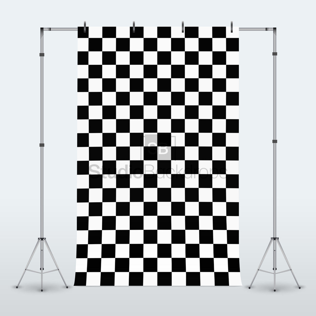 Black and White Checkerboard Tiles Photography Backdrop