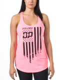 Frayed Flag Tank Neon Heather Pink / Small, Womens Top - Diesel Power Gear, Diesel Power Gear  - 1