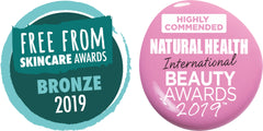 The Free From Skincare Awards Bronze Logo and the Natural Health International Beauty Awards Highly Commended Logo
